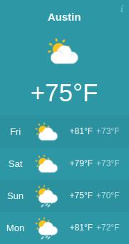 Responsive Weather Widget Day Austin Fahrenheit